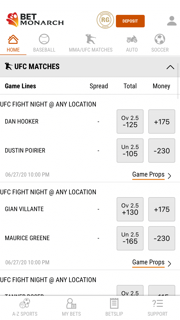 BetMonarch UFC Options